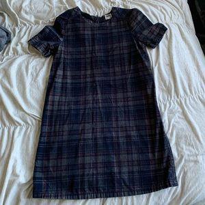 ASOS Denim Plaid Mini Dress
